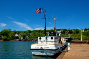 ex-army tug transport Shenehon in harbor at Lake Superior in Bayfield