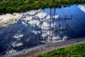 Puddle Strommast Mirroring water