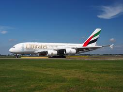 Emirates Airbus A380 green grass
