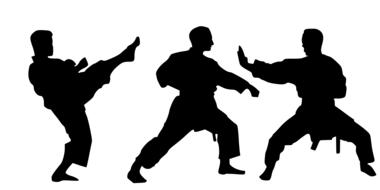 karate, three male silhouettes