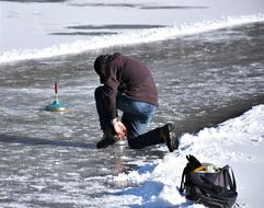 curling on ice in winter