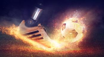 Football Shoe fire banner drawing