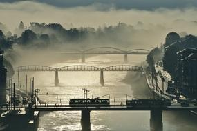 cityscape of the foggy bridges im the morning