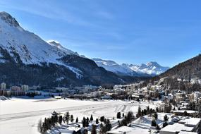 Beautiful Ski area with snow in the Alpine mountains in Switzerland