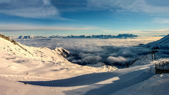 scenic Panorama, mountain peaks above Morning fog, austria