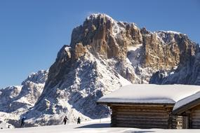 Cross Country Skiing on Seiser Alm, italy, south tyrol