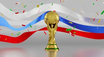 golden football cup on the background of the flag of Russia