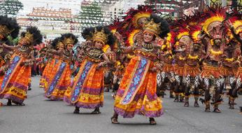 tribal People Parading on Dinagyang Festival, Philippines, Iloilo City