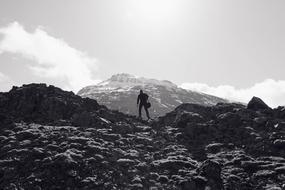 monochrome photo of a climber on the mountain