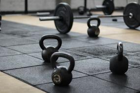 Dumbbells on floor in gym, Weights Lifting