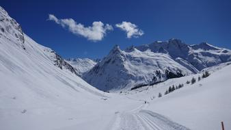 panoramic image of winter mountains