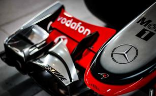 Mercedes logo on a Formula One racing car