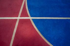 Basketball Court red blue drawing