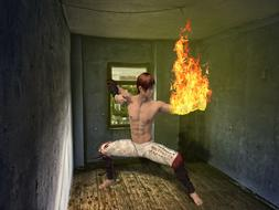 Computer generated image of karateka with a burning hand in the room