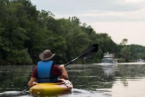 man in Kayak on River at summer