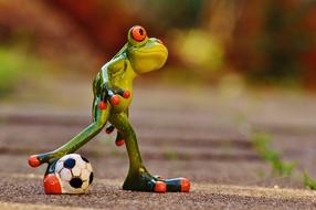 ceramic Frog Football Funny
