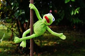 funny Kermit on a pole