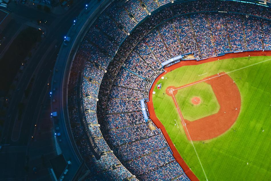 baseball field from aerial view