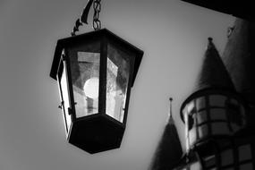 black and white image of street lamp