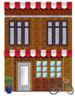 brick building awnings drawing