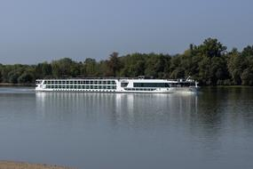 Boat Hotel on danube river at summer