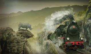 mystical image of a rhino on a mountain and a moving steam locomotive