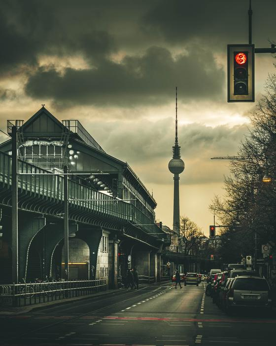 old train station at dusk, germany, berlin