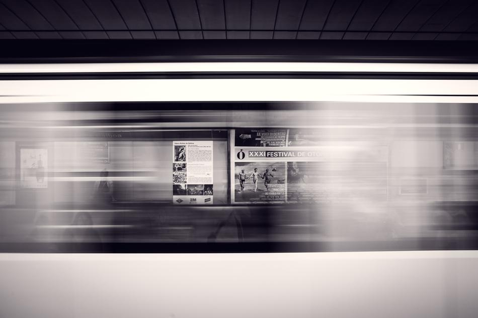 Departure Platform in Subway Station, motion effect