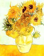 drawn bouquet of sunflowers in a vase