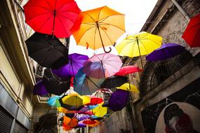 colorful umbrella street