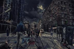 zombies in scary city at night, digital art