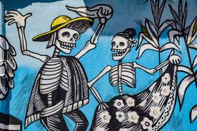 drawn dancing skeletons