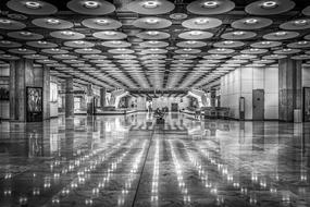 monochrome photo of the airport in Madrid, Spain