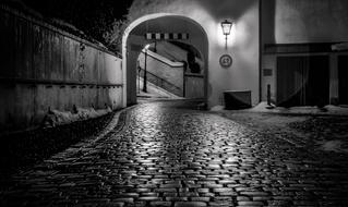 wet cobbled path at night