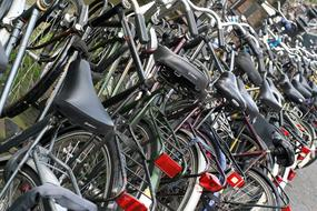 parked bicycles in the city