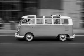 VW bus on the road