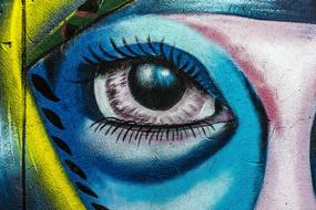 background street art graffiti wall eye drawing