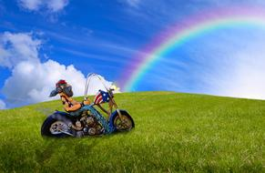Biker Motorcycle and rainbow