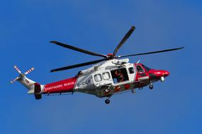 Helicopter Coastguard Rescue red white