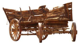 wooden cart on a white background