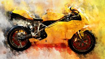 motorcycle watercolor drawing