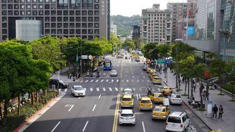 taxi are parked on the street in Taipei, Taiwan