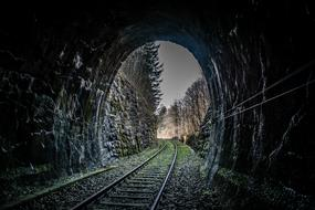 railway through Tunnel and forest