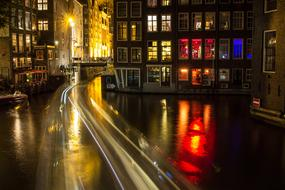 Amsterdam Canal Night street