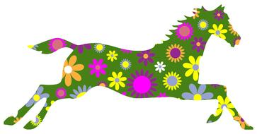 flowers decorative horse