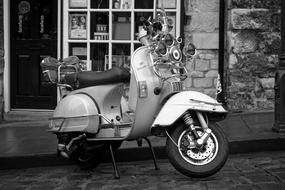 Vespa Scooter black and white
