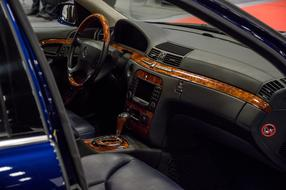 Black and orange interior of the car
