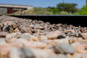 Train Track and gravel close up