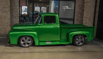 Green retro shiny Ford truck