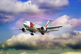 Emirates aircraft high in the sky